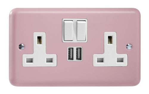 Varilight XY5U2SW.RP Lily Pastel Rose Pink 2 Gang Double 13A Switched Plug Socket 2.1A USB